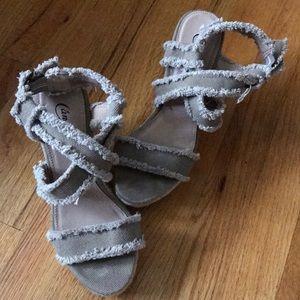 Beige distressed high heel sandals